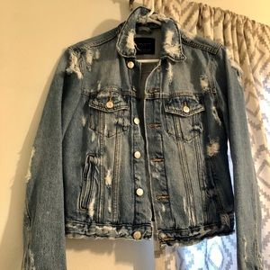 ZARA Distressed Denim Jacket, Sz Medium